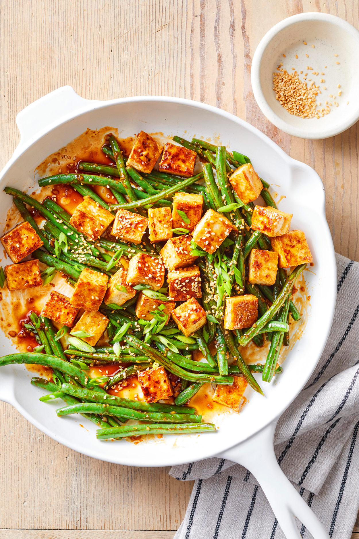white dish of Green Bean and Tofu Stir Fry