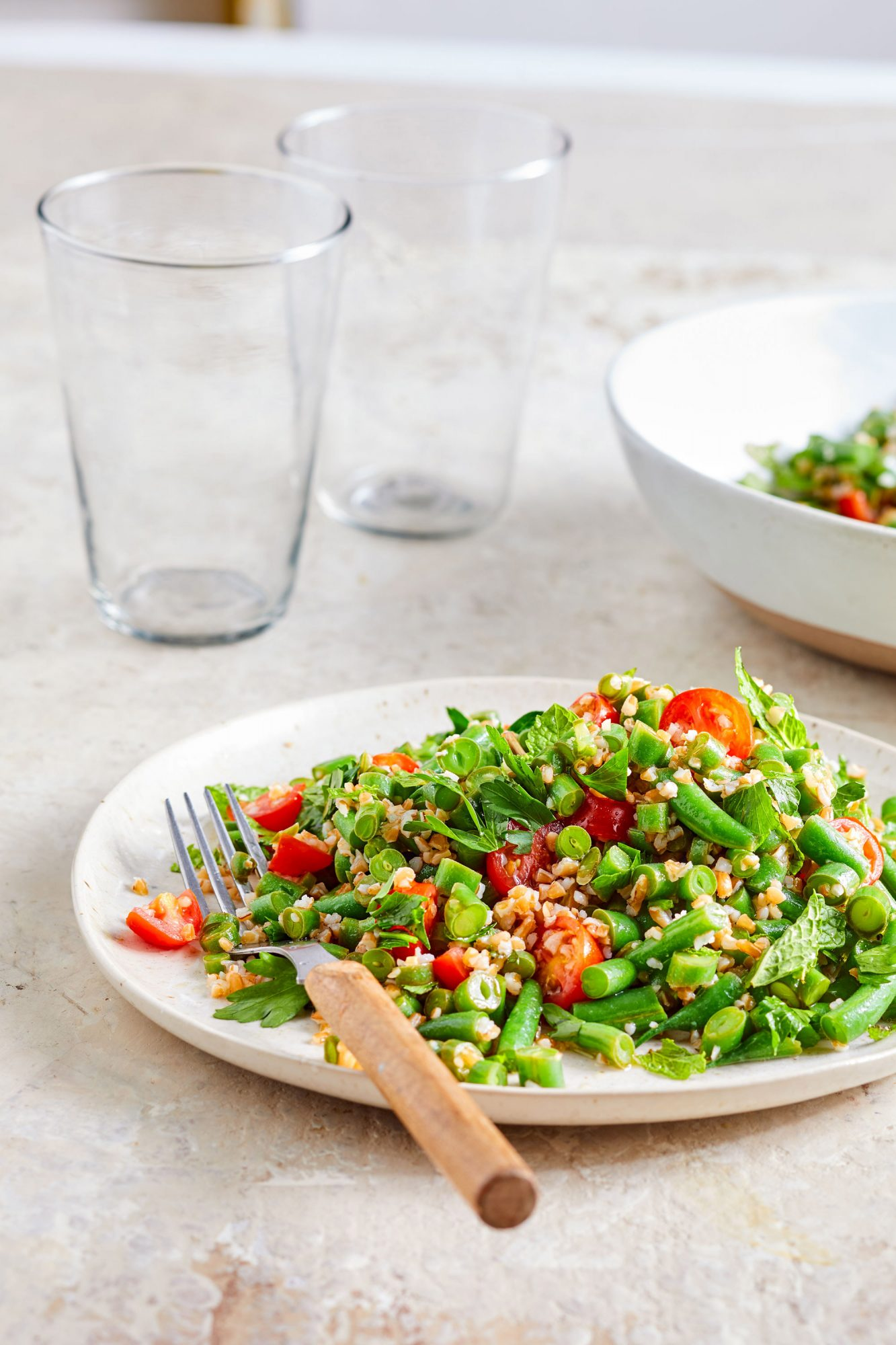 Green Bean Tabbouleh on white plate