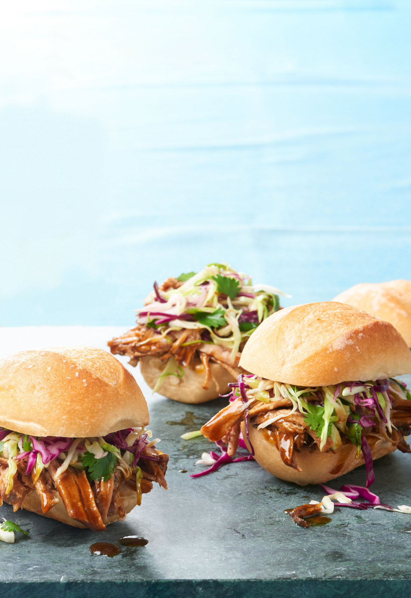Soy-Ginger Pulled Pork with Tangy Sesame Slaw sandwiches
