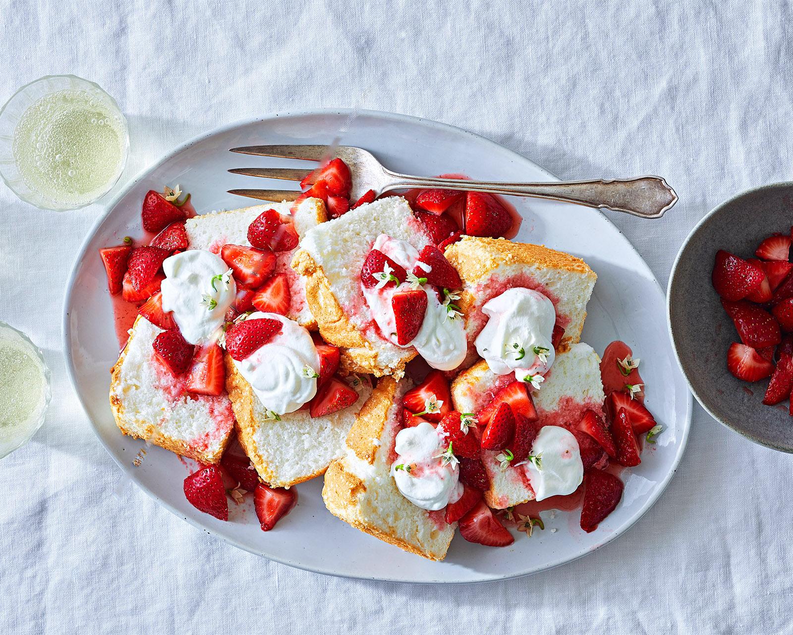 Angel Food Cake with Strawberries and Elderflower Cream