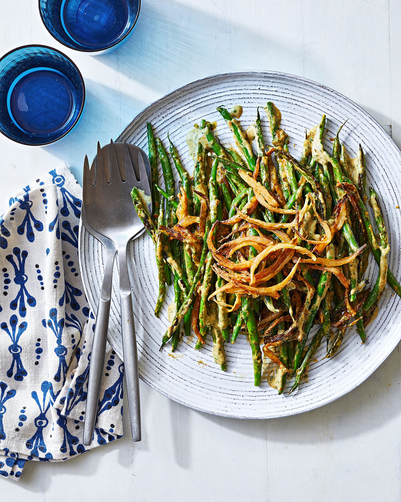 Blistered Green Beans with Fried Onions and Basil-Mushroom Cream