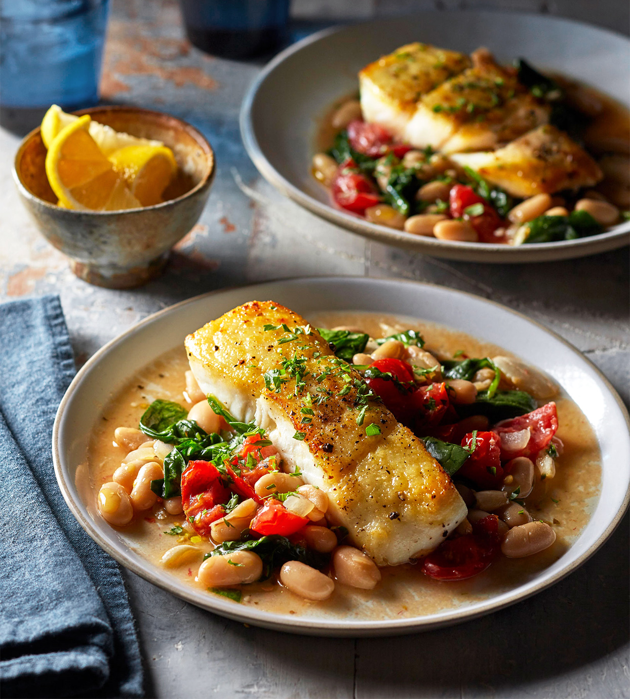 Halibut with Garlicky Beans