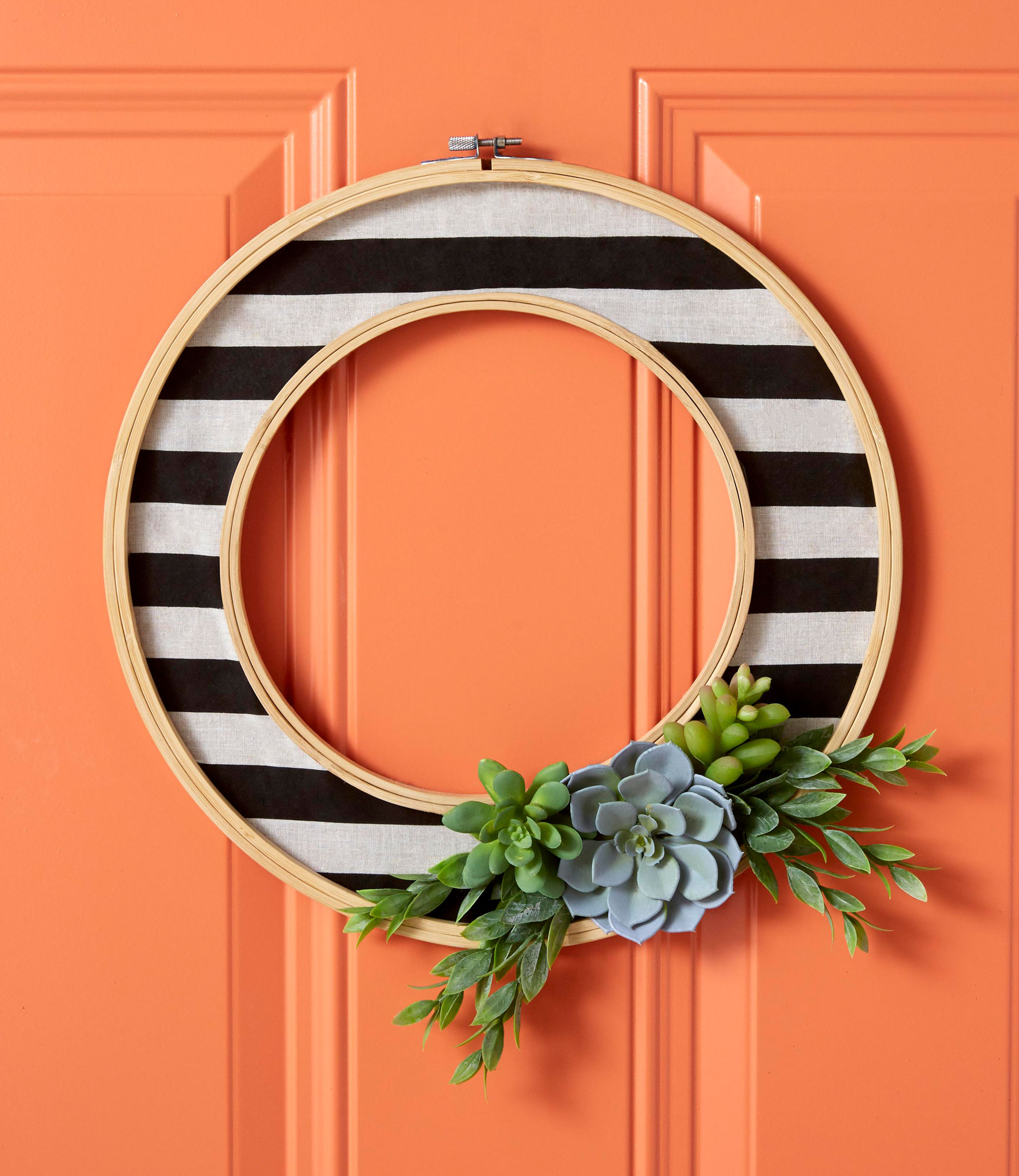 Striped Halloween front door wreath