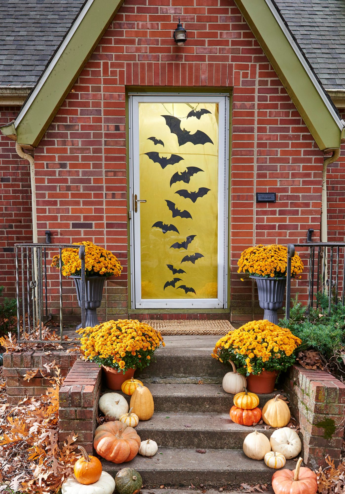 Halloween porch with bats