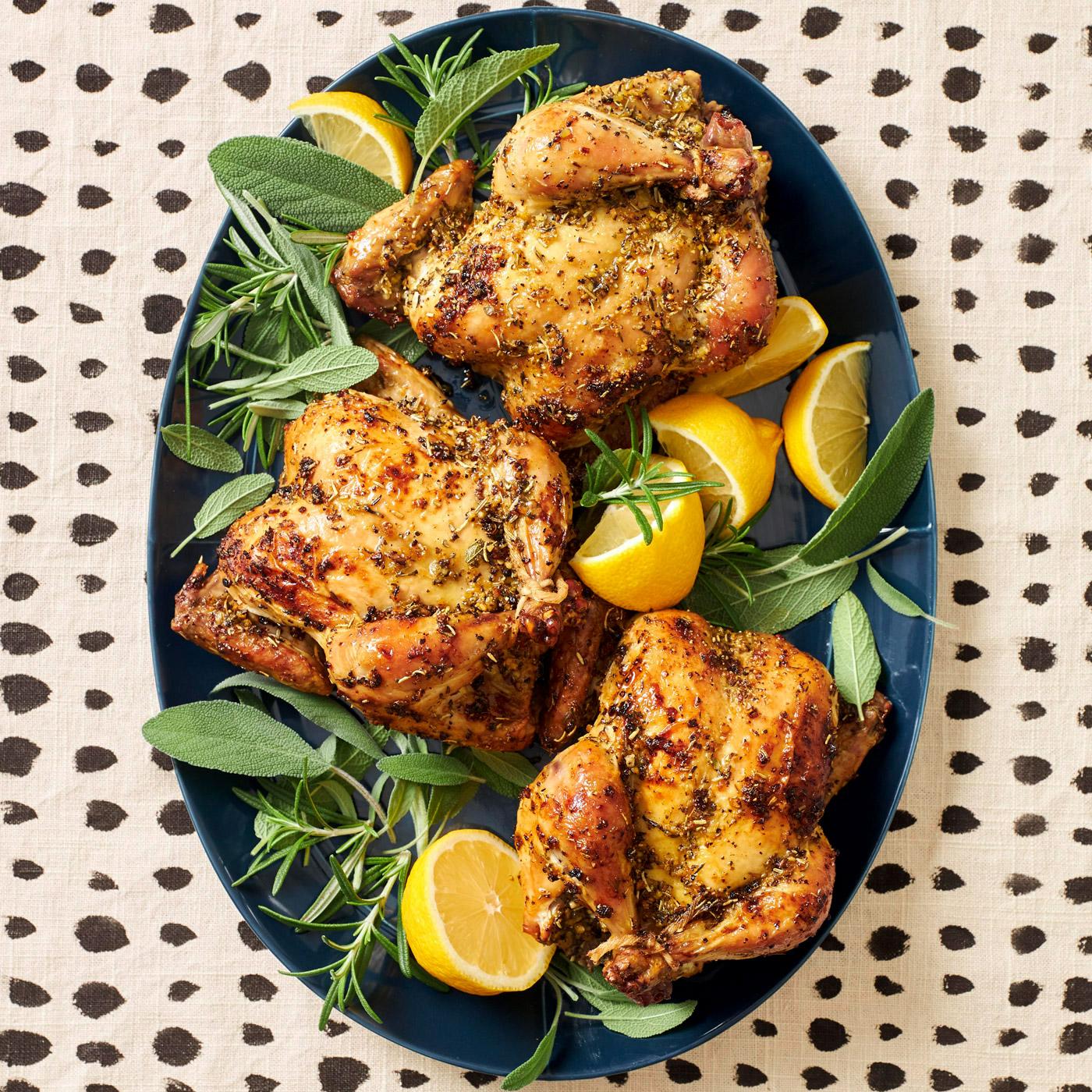 Lemon-Pepper Cornish Hens