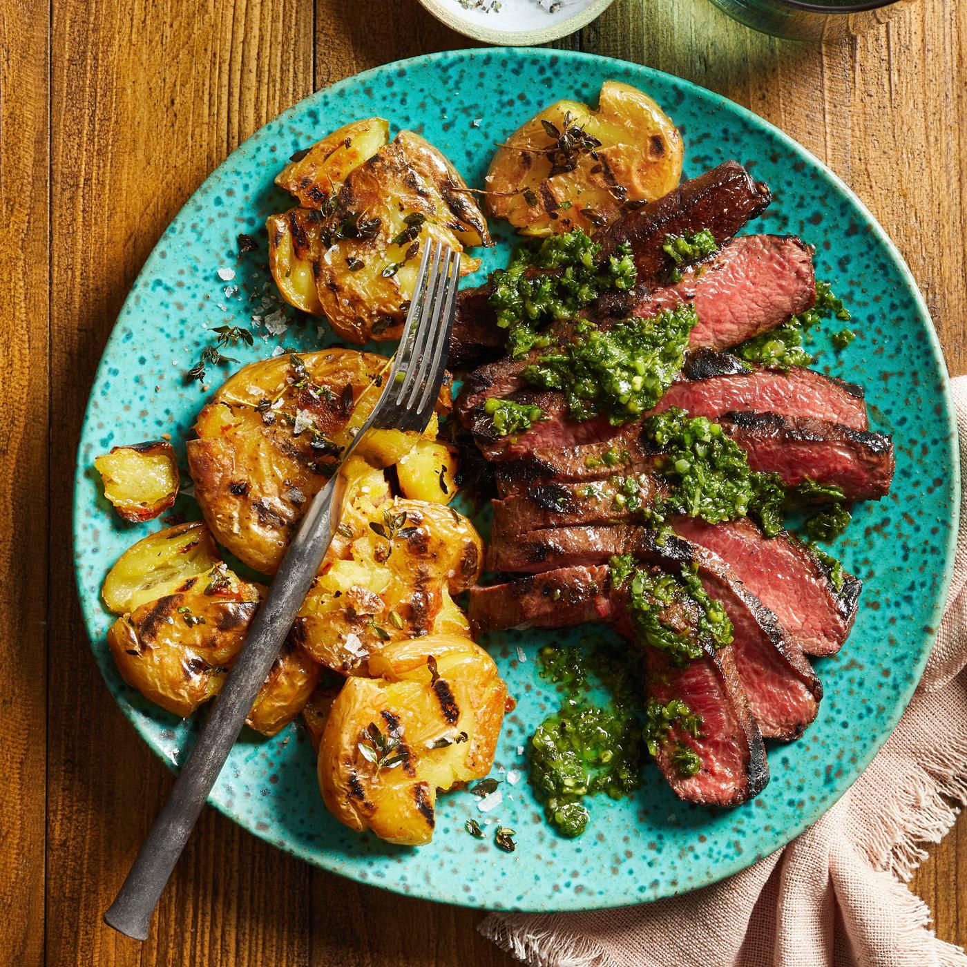 Flat-Iron with Chimichurri and Smashed Potatoes