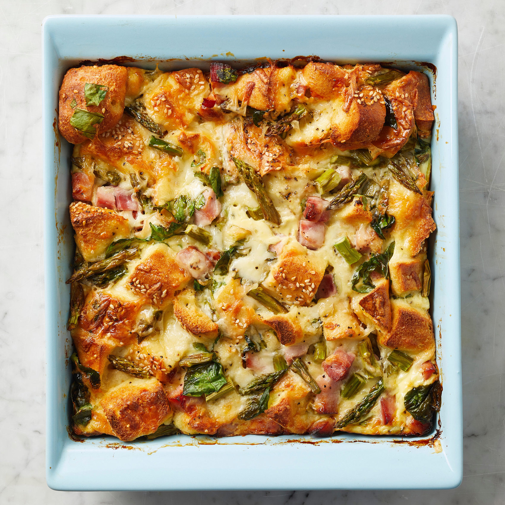 Bagel Strata with Asparagus and Ham