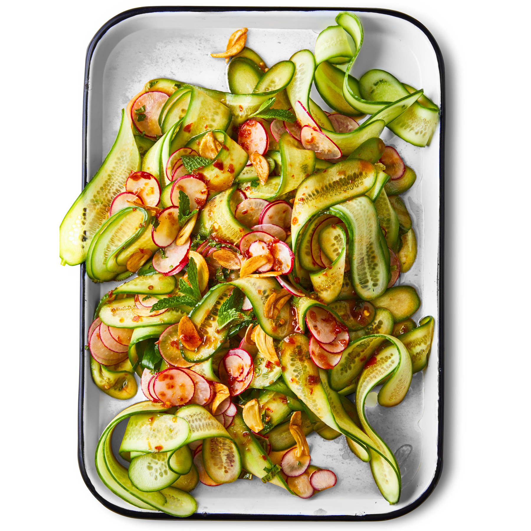 Cucumber-Radish Salad with Toasted Garlic