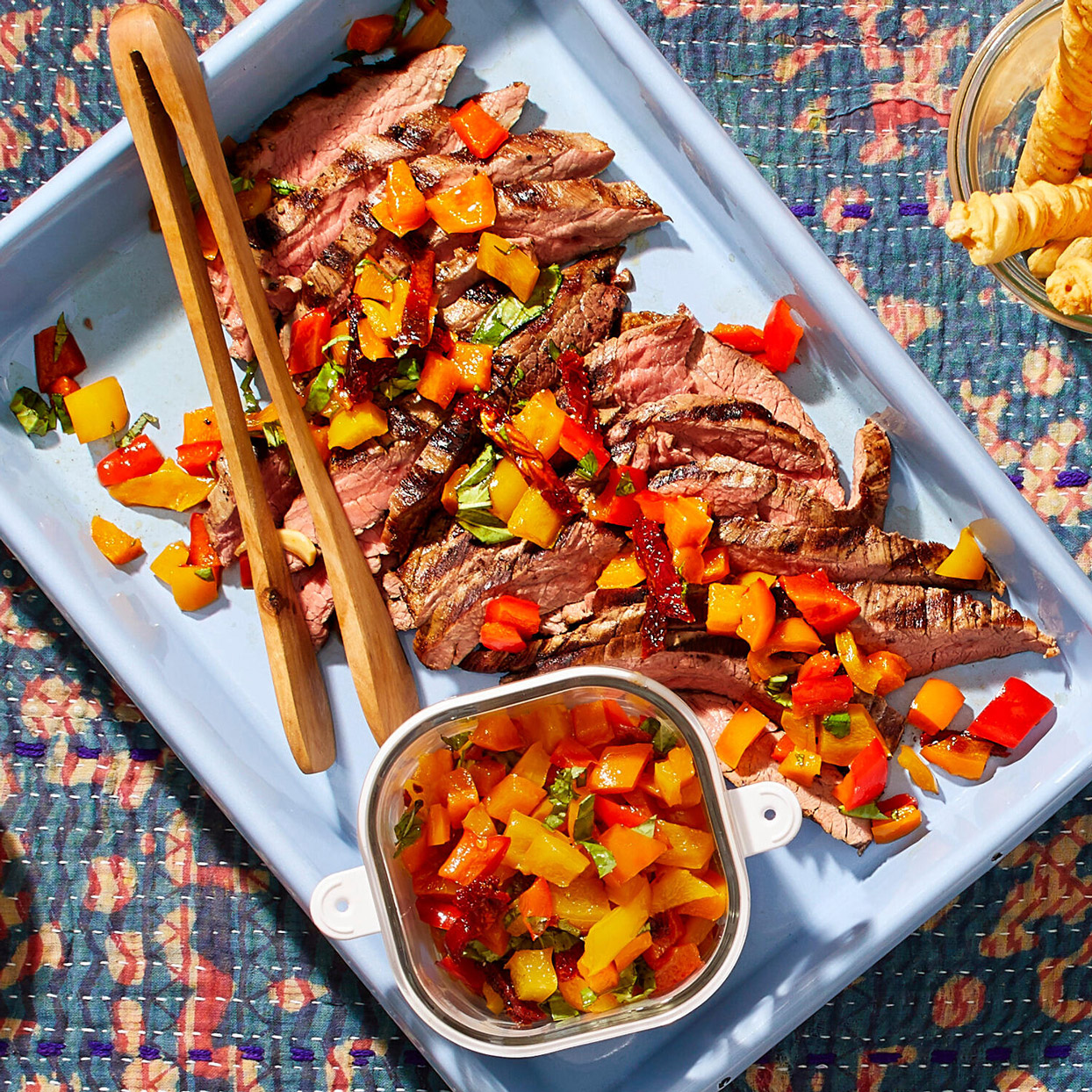 Grilled Flank with Pepper Relish
