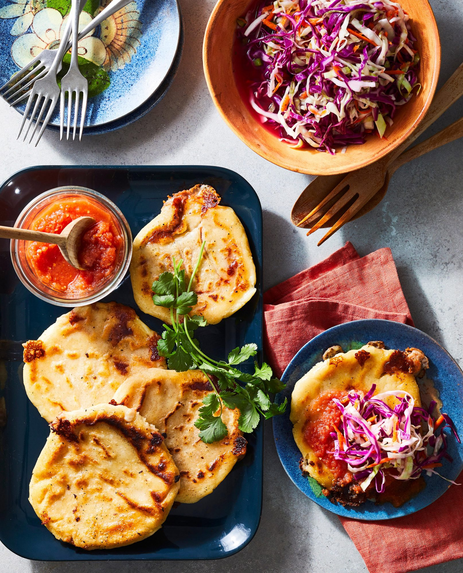 Bean and Cheese Pupuas With Red Salsa and Curtido