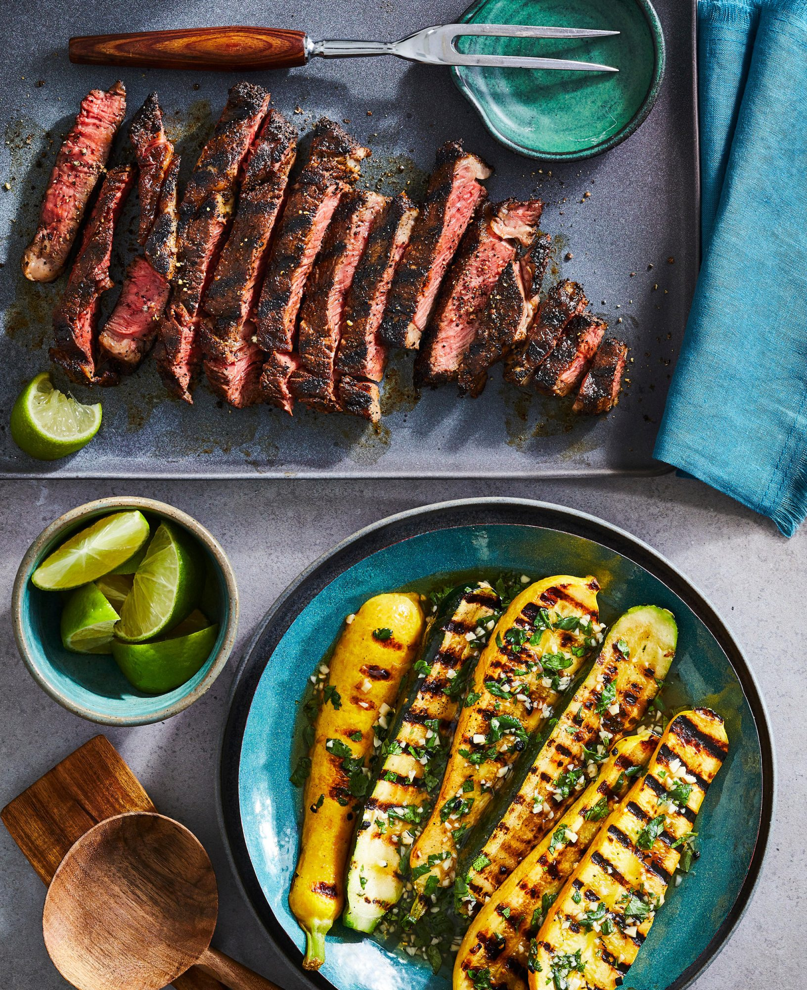 Coffee and Spice Grilled Ribeye with Grilled Squash