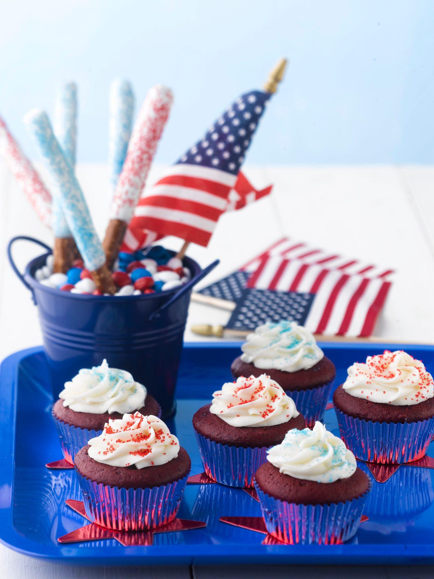 Pretzel Sparklers and Firecracker Coconut Cupcakes
