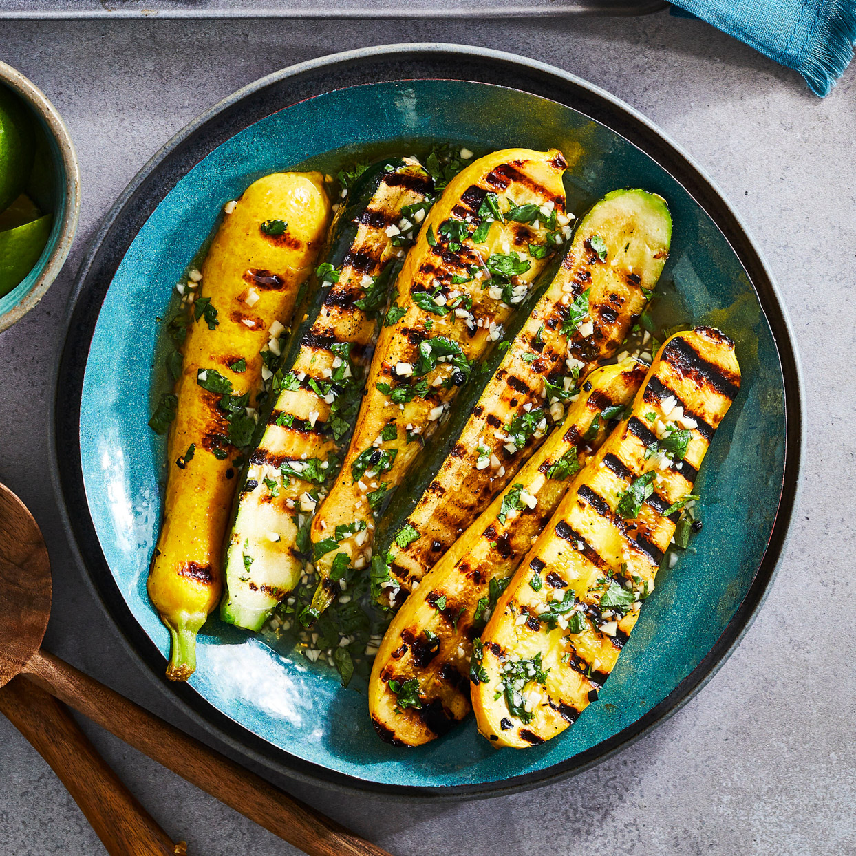 Grilled Squash in Cilantro, Lime and Fish Sauce