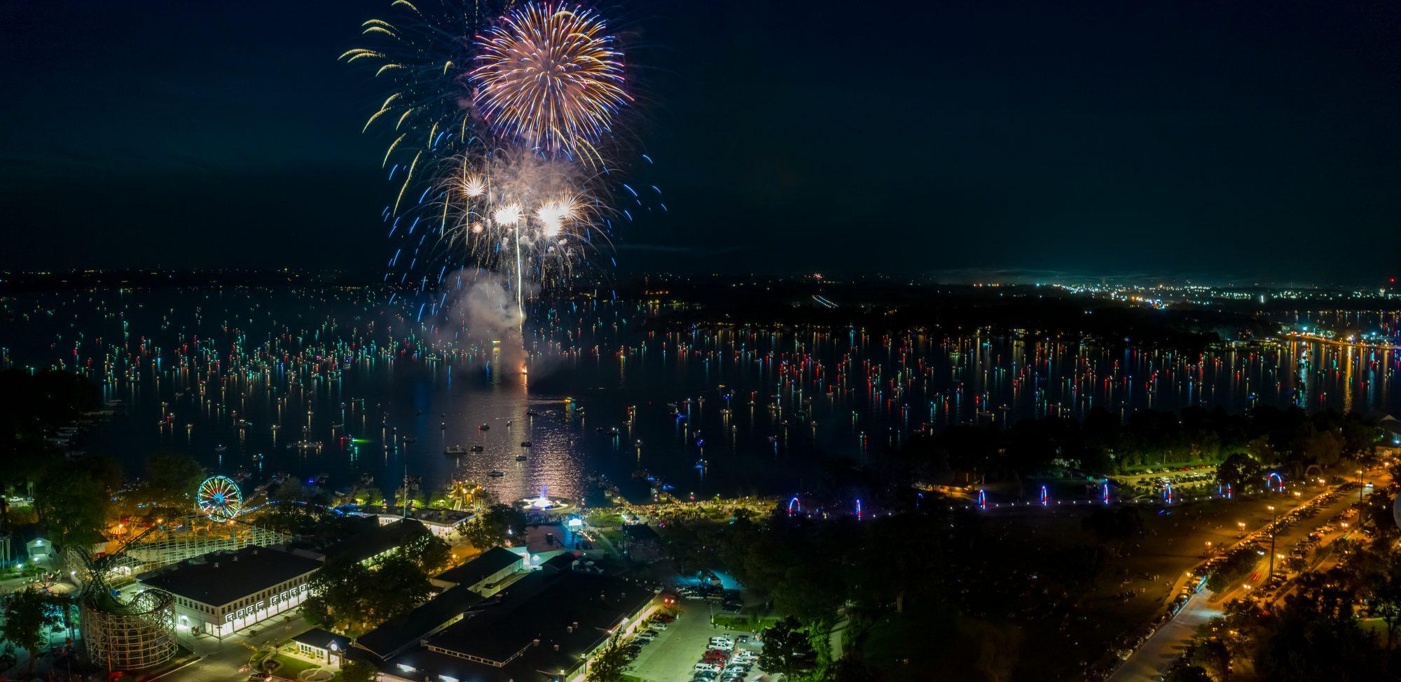 Fireworks over West Lake Okoboji