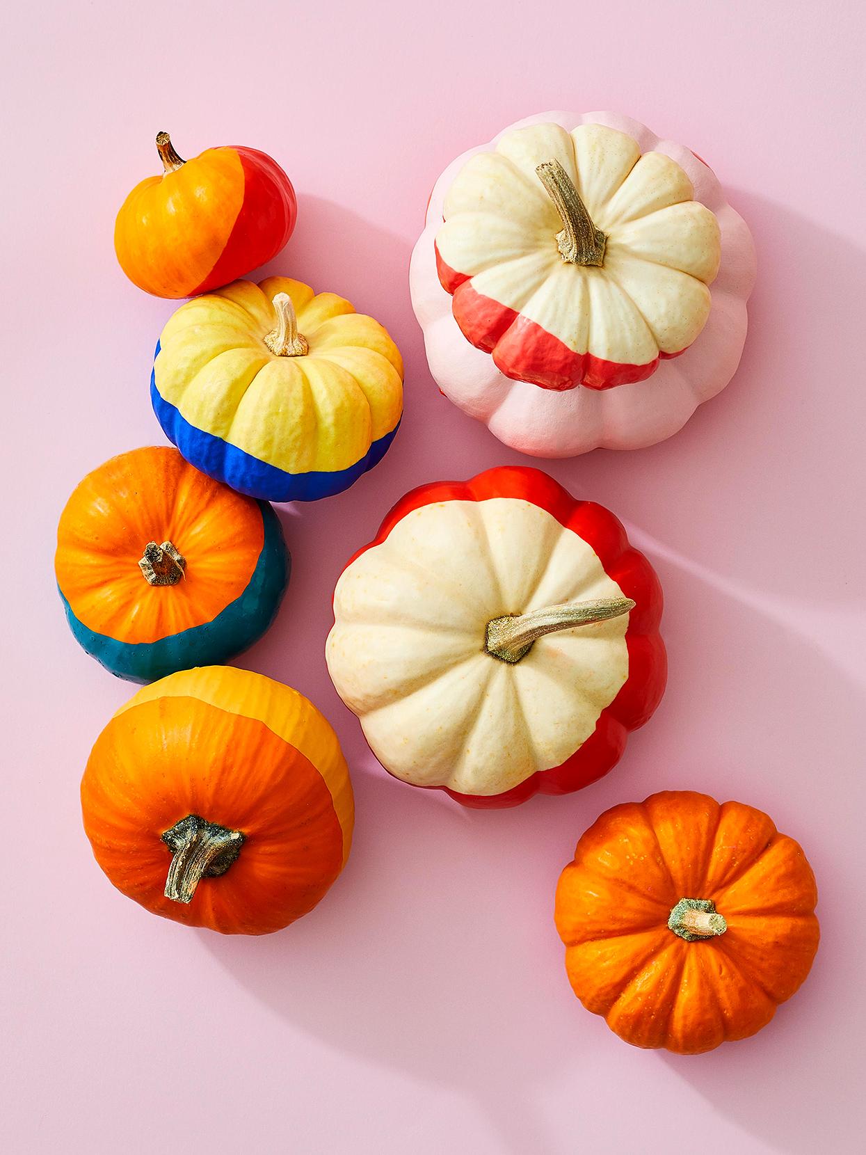 Color block pumpkin decorating