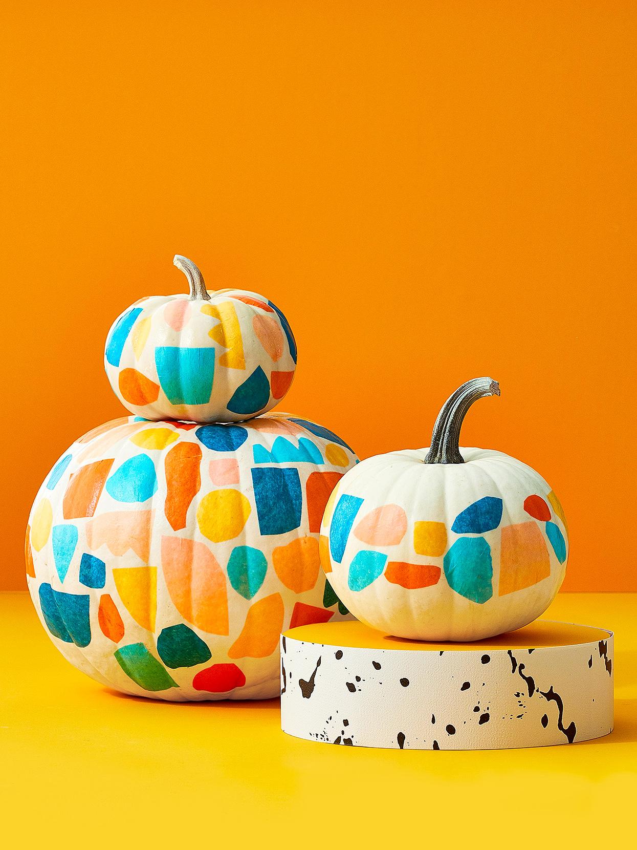 Decoupage pumpkin decorating