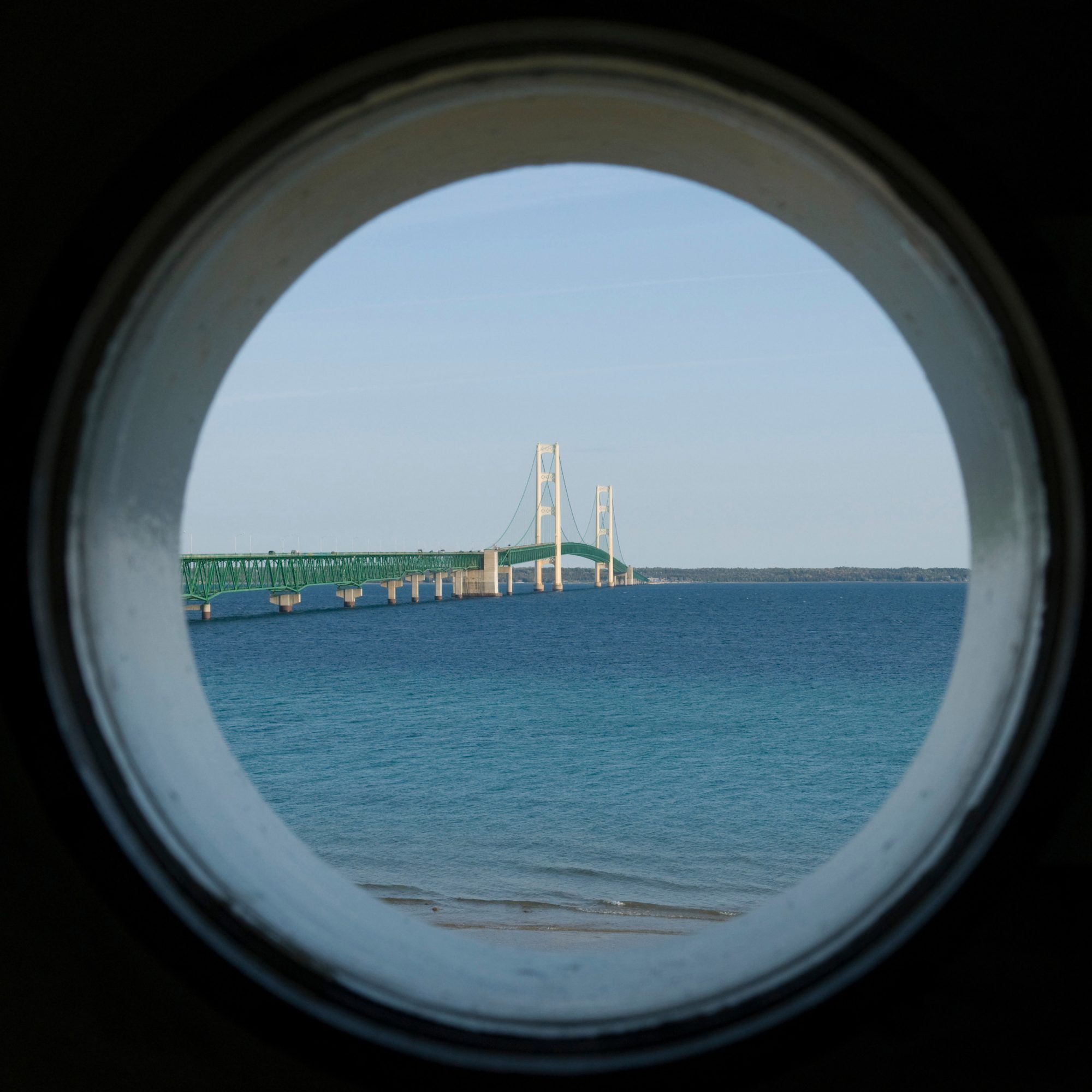 """The """"Mighty Mac"""" suspension bridge, an engineering wonder, stretches 5 miles across the Straits of Mackinac. At Bridge View Park in St. Ignace, you can get terrific Mackinac Island bridge views with paths, picnic areas and interpretive center."""