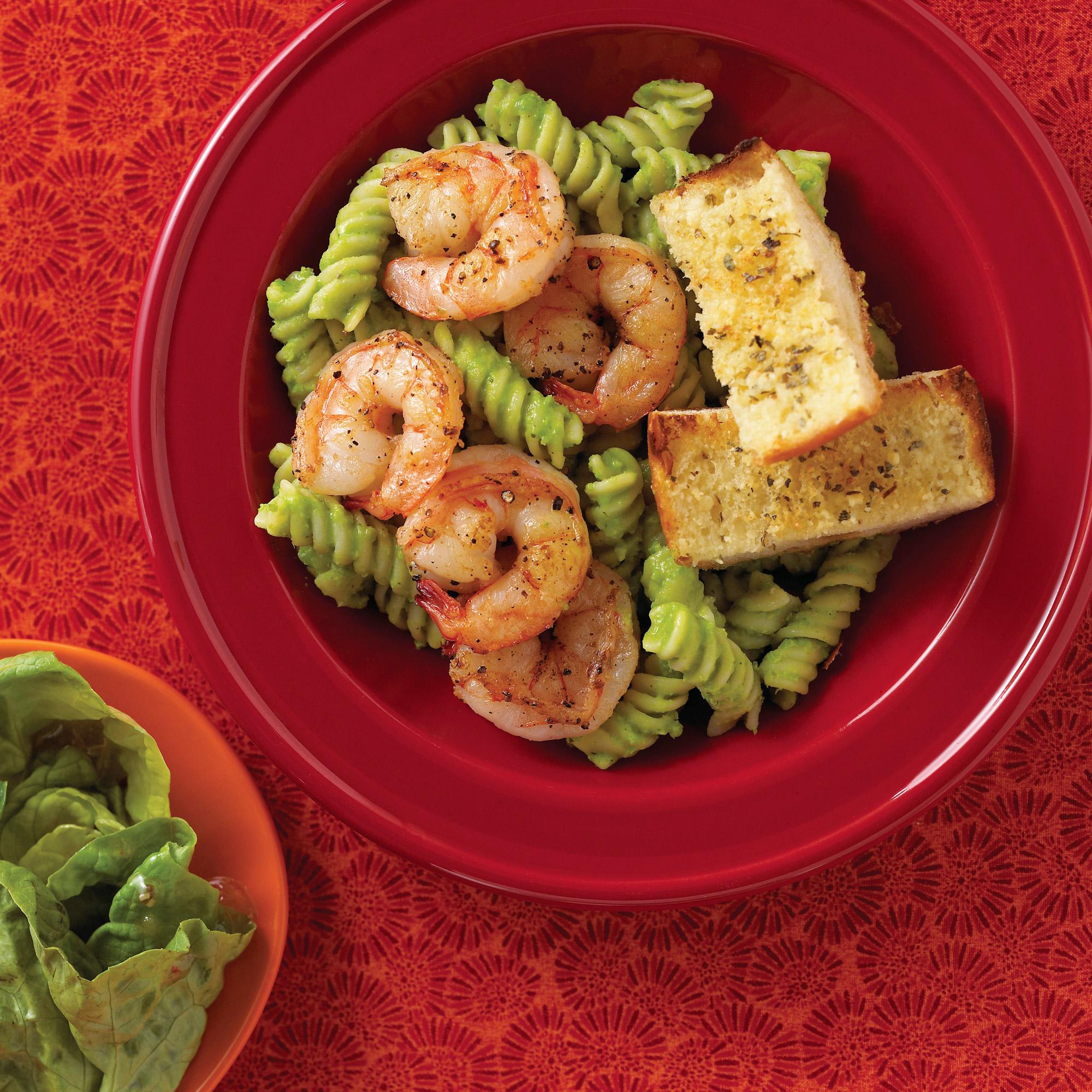 Shrimp Fusilli with Sweet-Pea Pesto