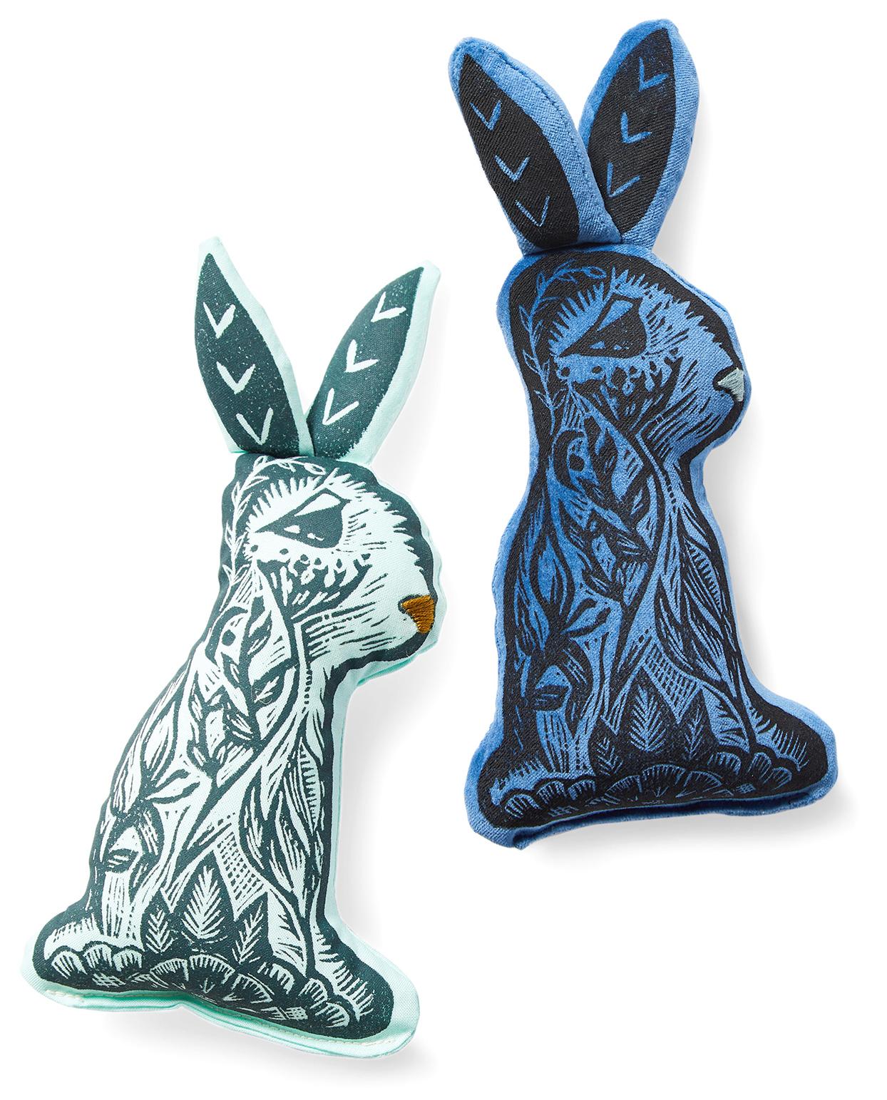 blue stuffed vintage printed plush bunnies
