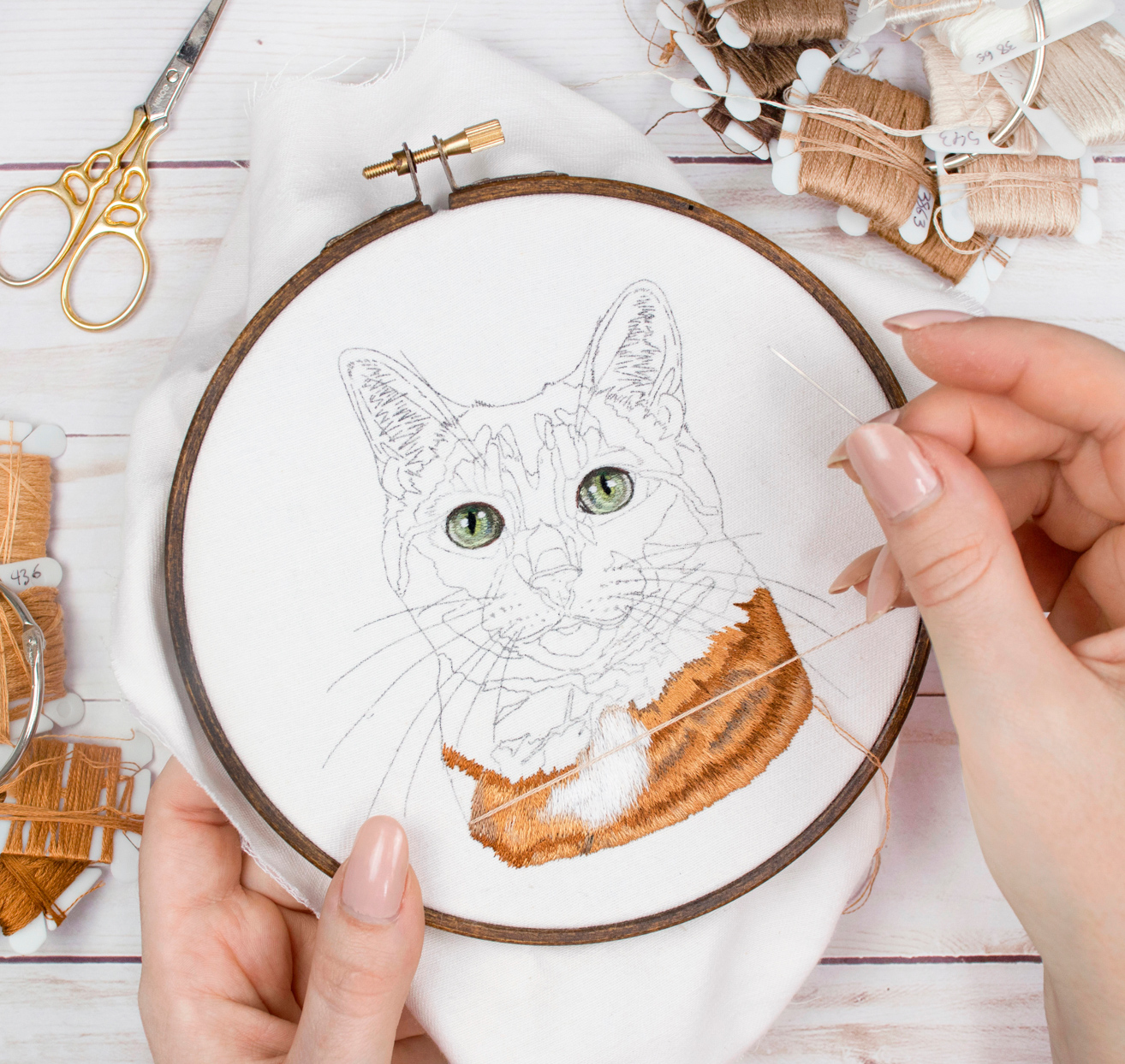 in process embroidery project of a cat
