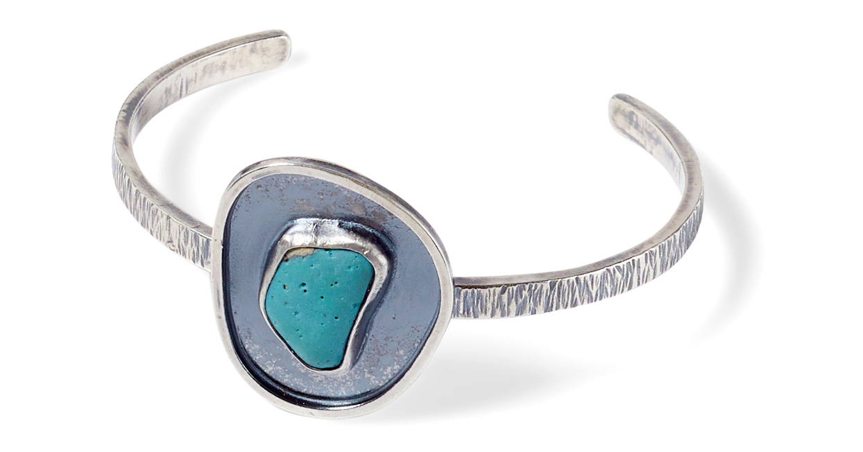 silver cuff bracelet turquoise stone