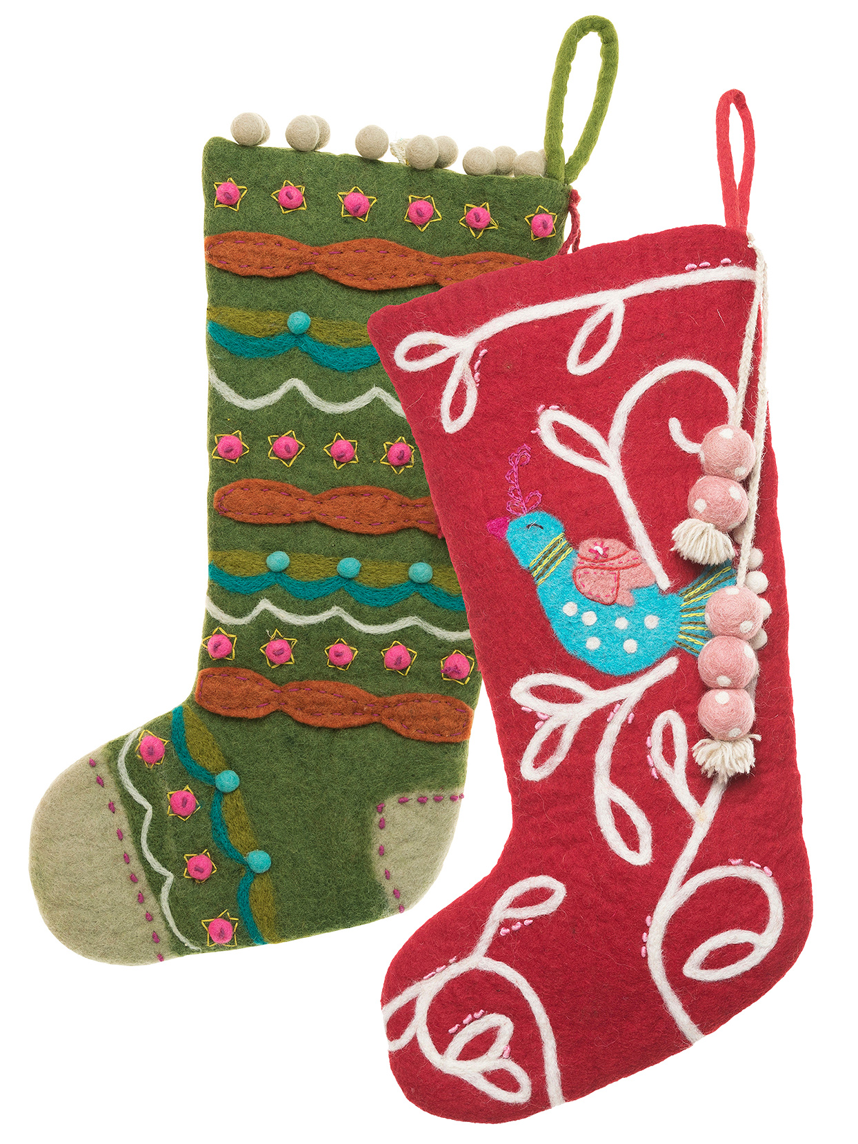 textural felted wool christmas stockings