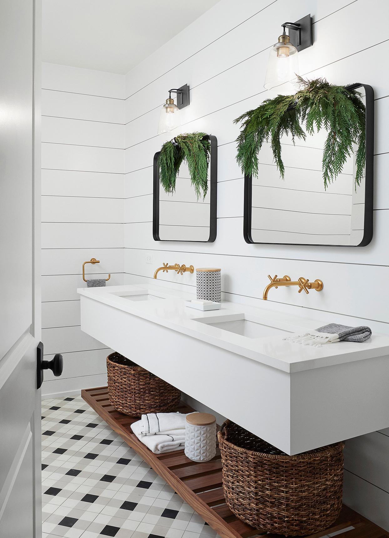 bathroom double vanity shiplap swag