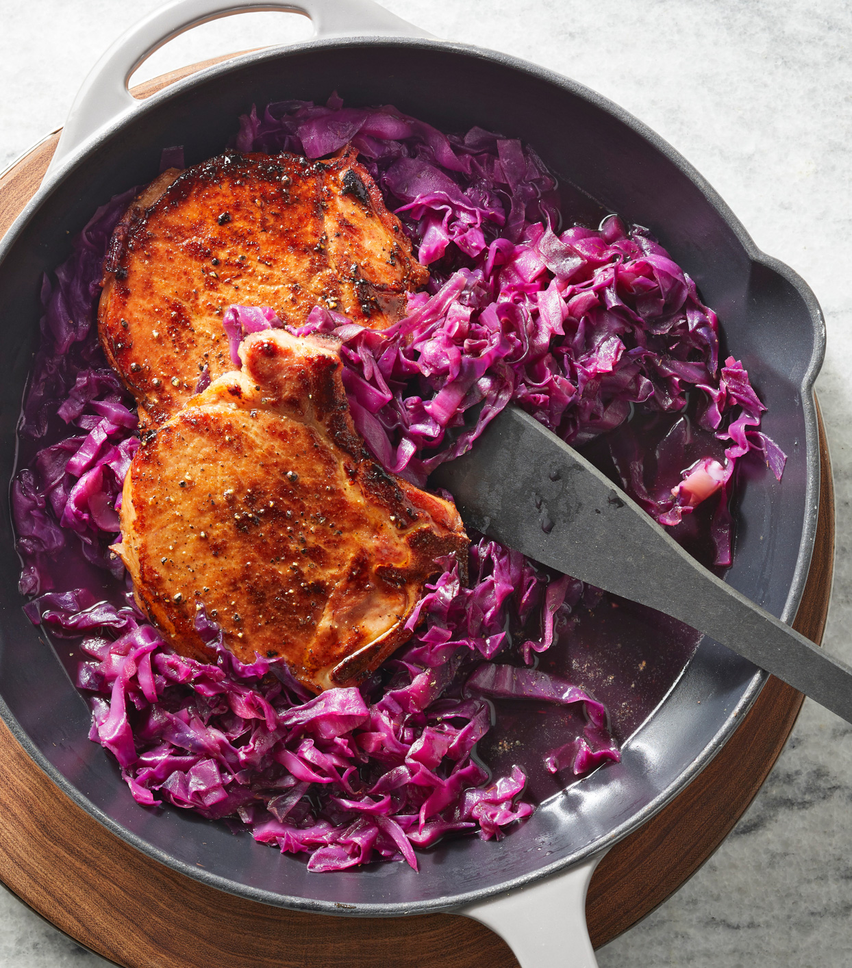 Beer-Braised Smoked Pork Chops and Cabbage