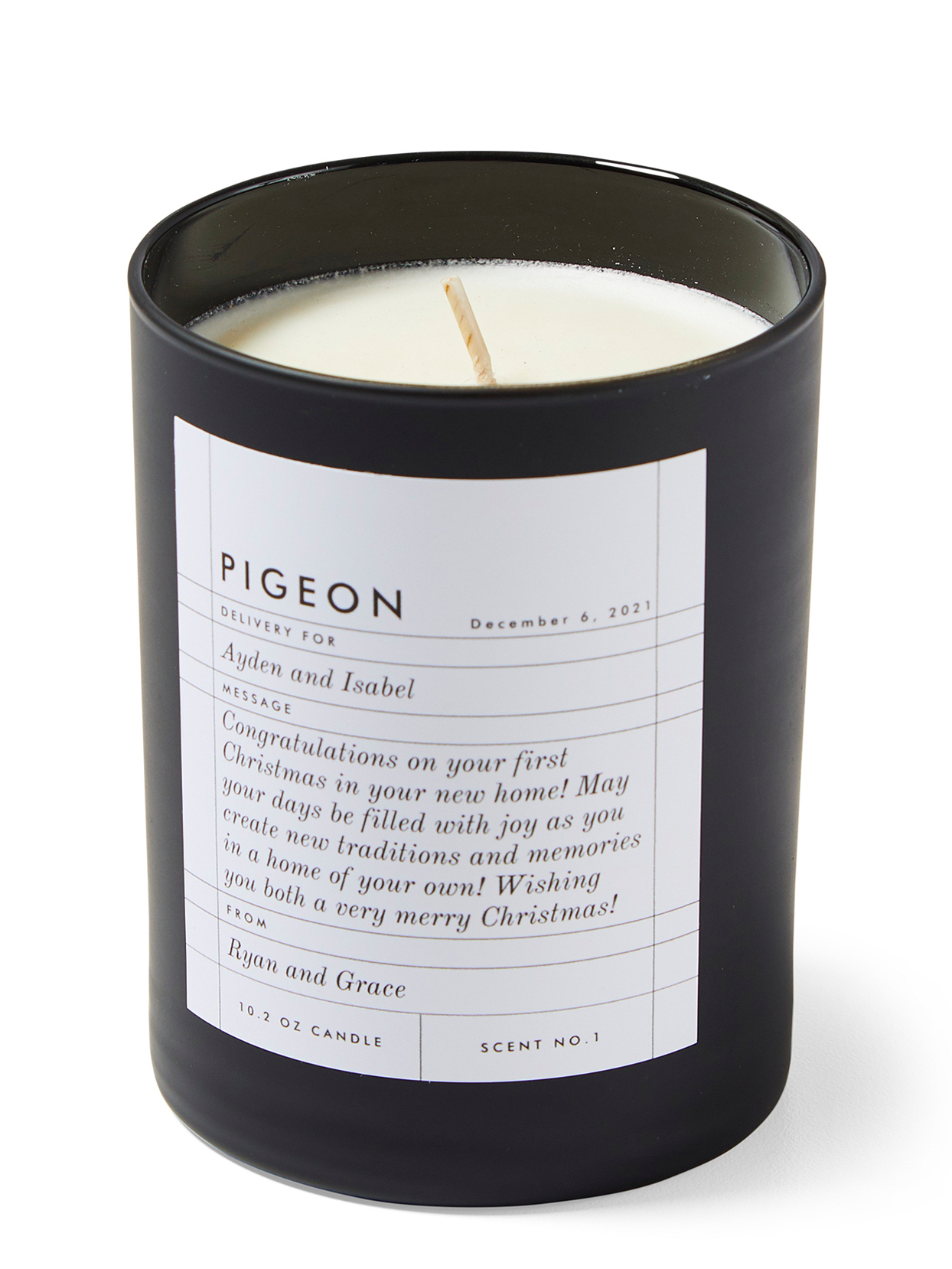 black pigeon candle personalized label