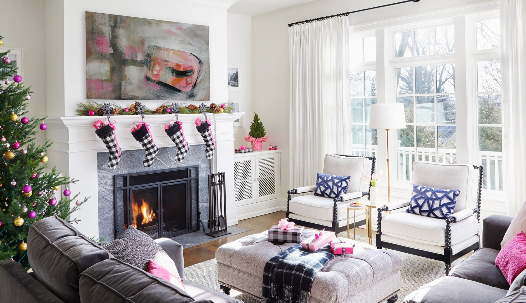 black white living room pink accents christmas