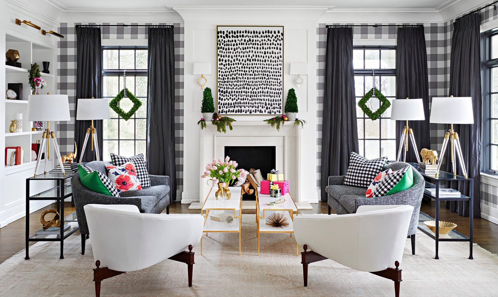 black white plaid buffalo check living room