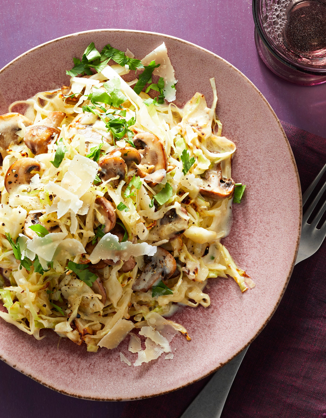 Cabbage Alfredo with Mushrooms