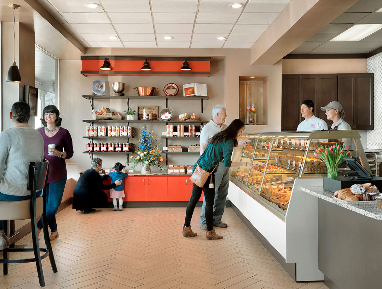 customers inside Nathaniel Reid Bakery
