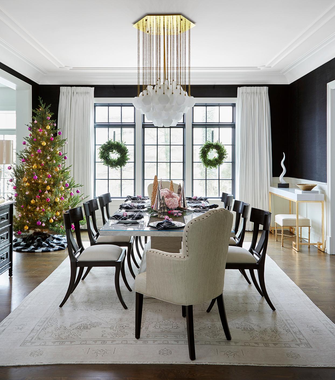 dramatic formal black white dining room