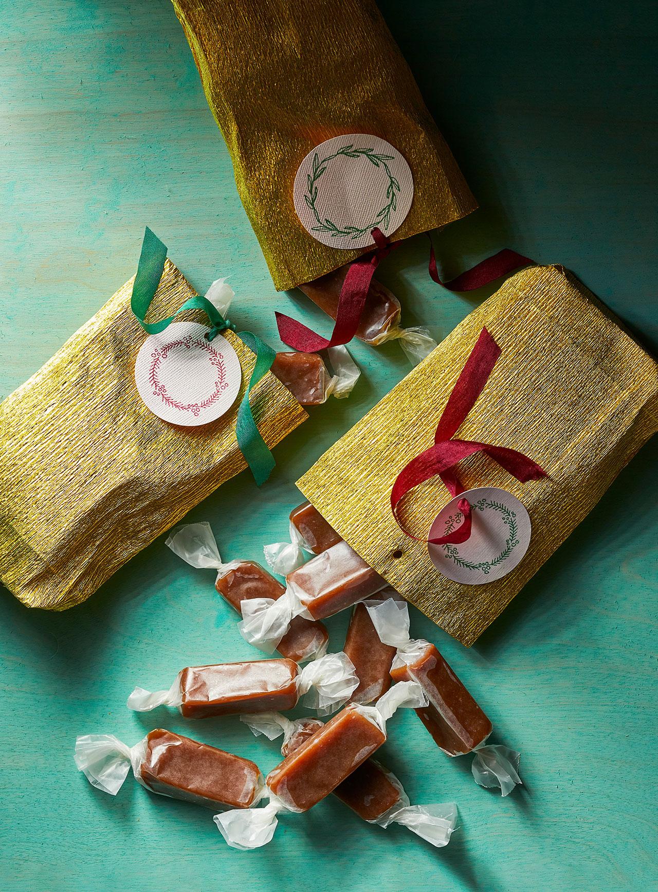 gift-wrapped sea salt caramels