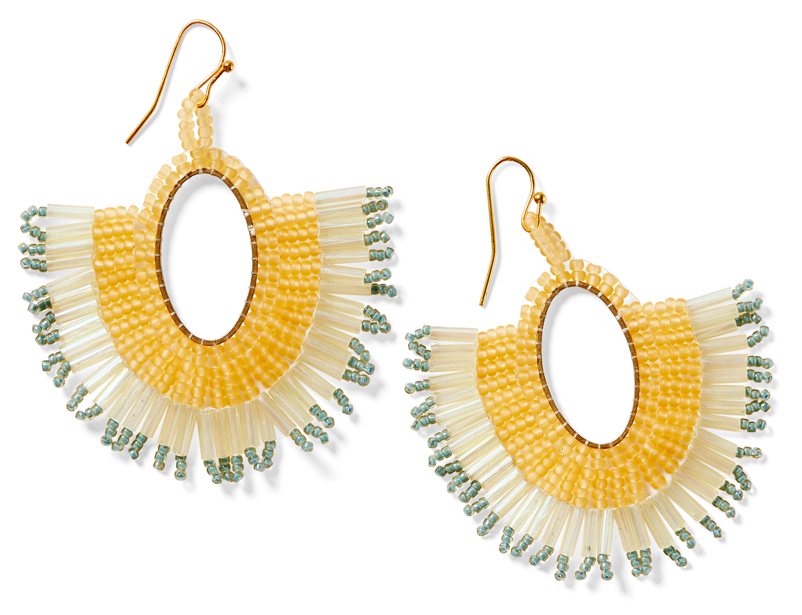 gold seed-bead sunburst earrings