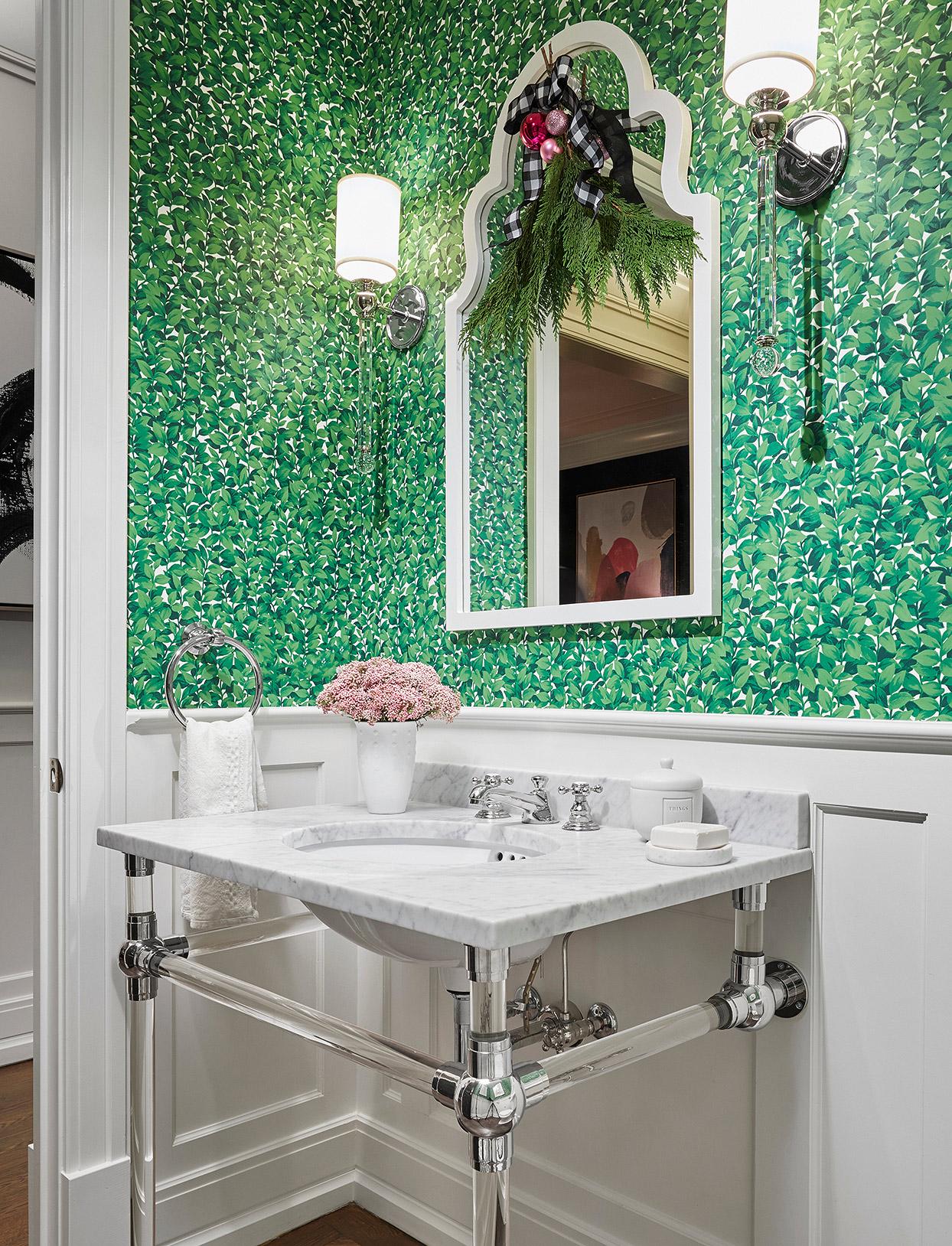 green wallpaper powder room christmas swag
