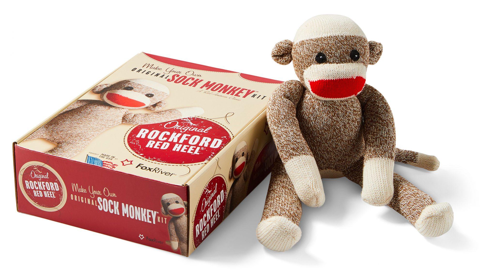 sock monkey kit original rockford red heel