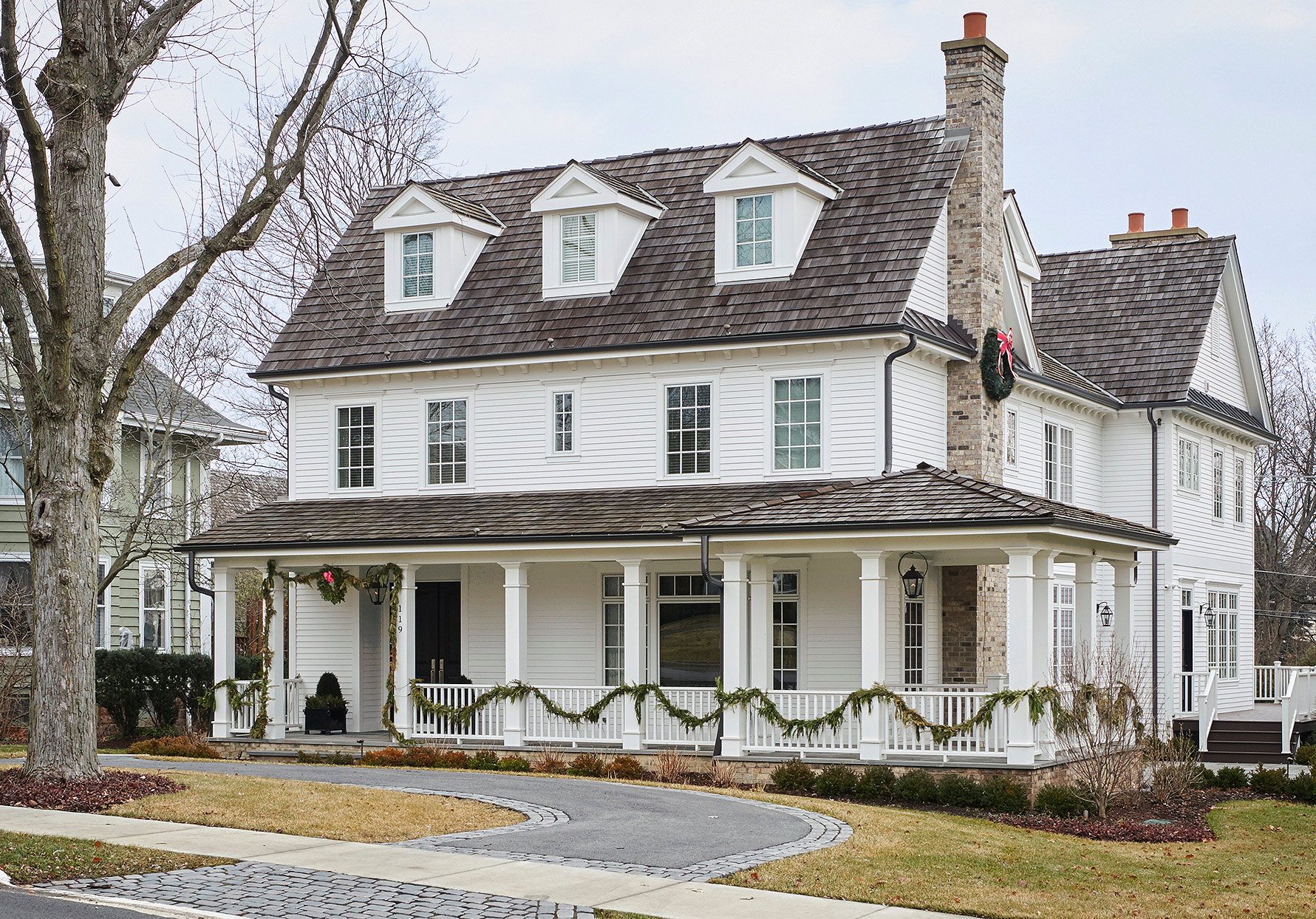 white home exterior colonial revival style