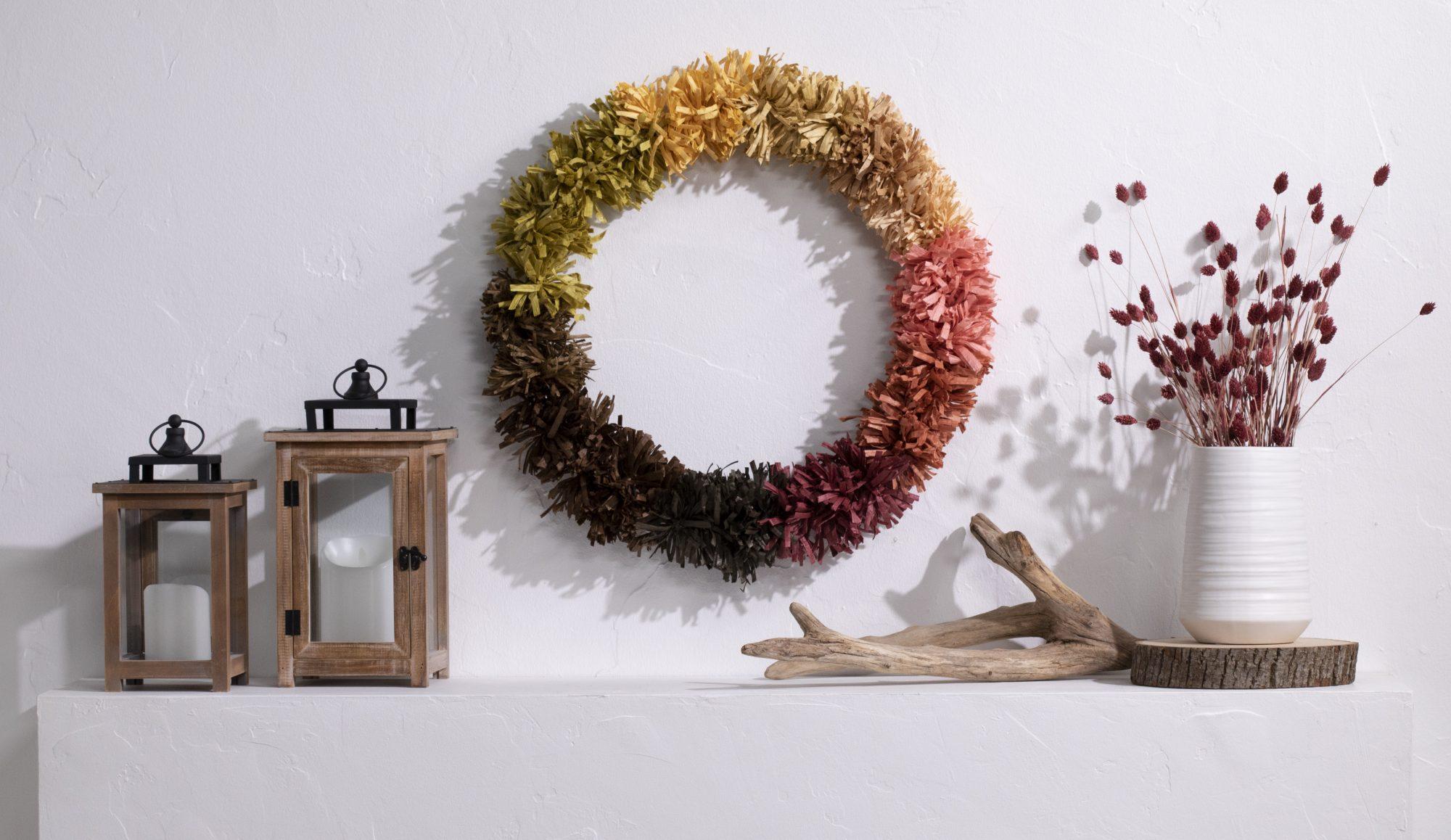 Paper raffia wreath above mantel