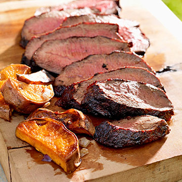 Cocoa-Chile-Rubbed Steak and Sweet Potatoes