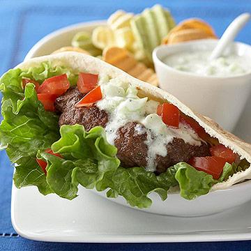 Greek Burgers with Cucumber Sauce