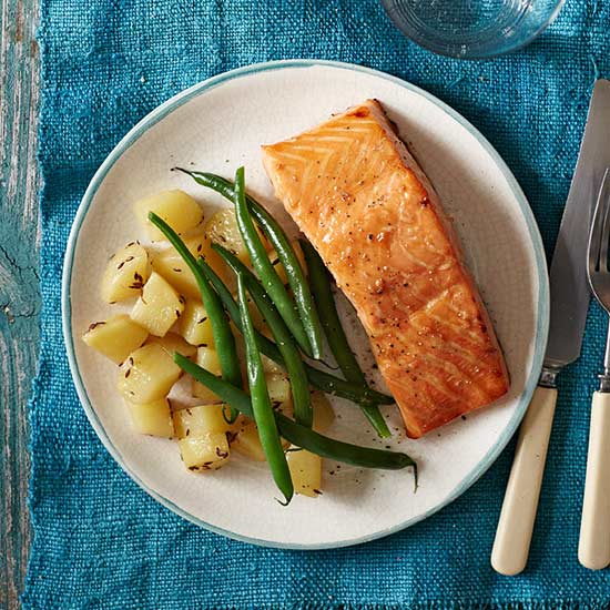 Honey Soy Salmon with Cumin-Infused Potatoes