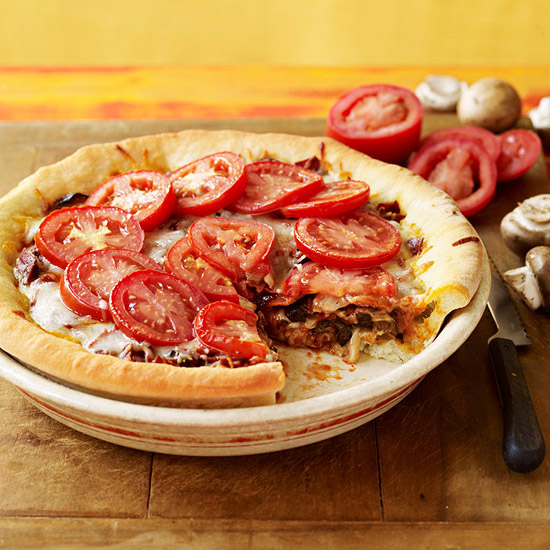 Deep-Dish Veggie & Pepperoni Pizza