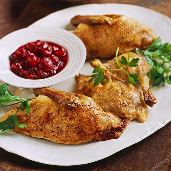 Roast Duck with Cranberry Chutney