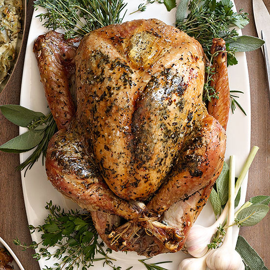 Herb-Roasted Turkey with White Wine Gravy