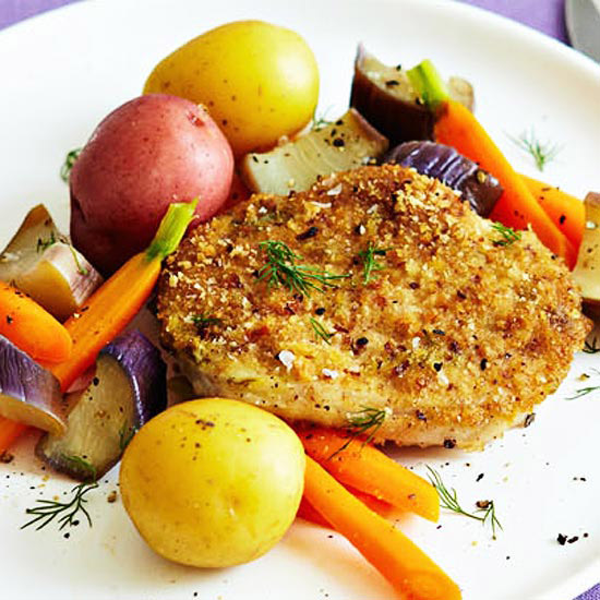 Pork Cutlets with Mustard and Dill