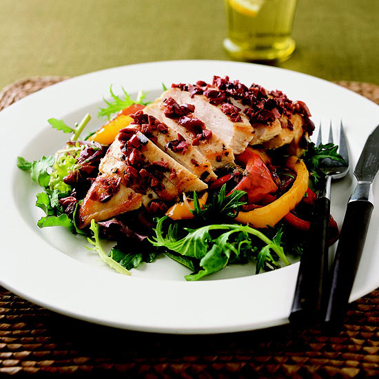 Chicken Breasts with Roasted Peppers & Greens