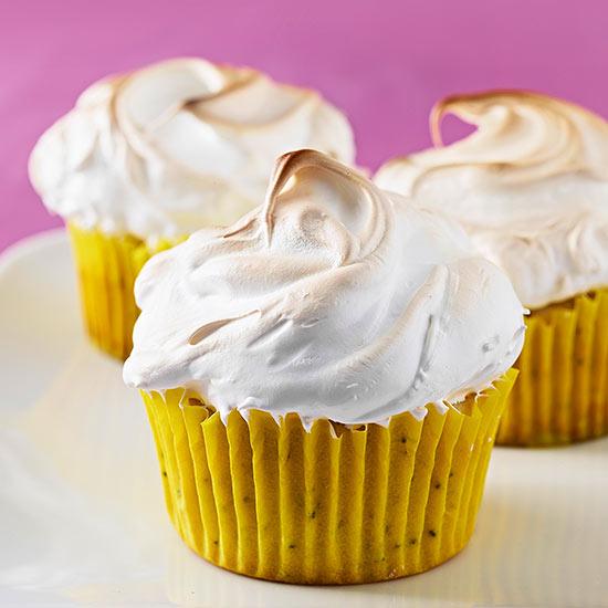 Meringue-Topped Lemon-Poppy Seed Cupcakes