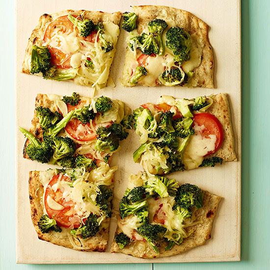 Cheesy Broccoli and Tomato Flatbread